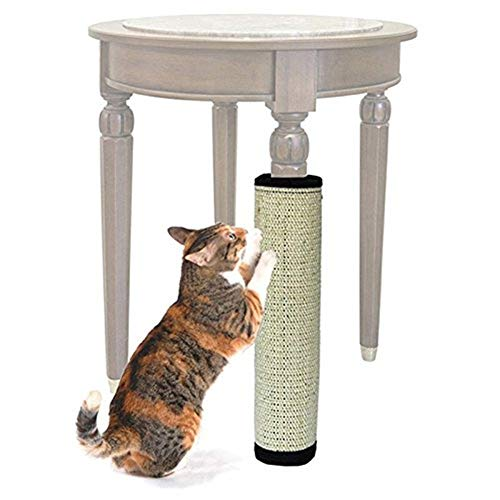 Tappeto Albero Tiragraffi in sisal per gatto giocattolo versatile arrotolabile per protezione di Palo di letto e di tavolo (40 * 30 cm)
