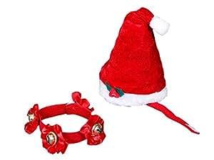 Ensemble 2 pièces (wm-99) Très joli petit bonnet de Noel avec pompon et collier à grelots, pour chien ou chat. Votre animal domestique sera lui aussi déguisé à Noël déguisement animaux fêtes de fin d'année à la maison sympa