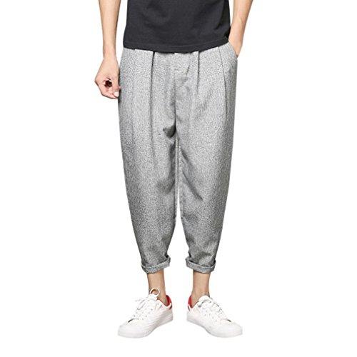 Somesun pantaloni sportivi slim casual da uomo nove pantaloni larghi harem di grandi dimensioni taglie forti eleganti leggeri corti vita bianchi strappato fit skinny elasticizzati (grigio, m)