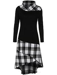 85ac8961eb922 Manches Robe,❤ Tefamore Femmes Modèle à Carreaux à col Haut Robe Patchwork  Robe