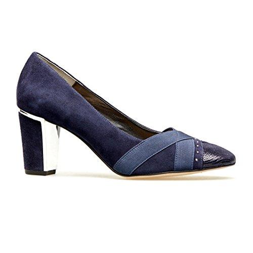 Van Dal Women's Ash Closed-Toe Heels, Blue (Midnight Suede/Reptile Print), 6.5 UK...