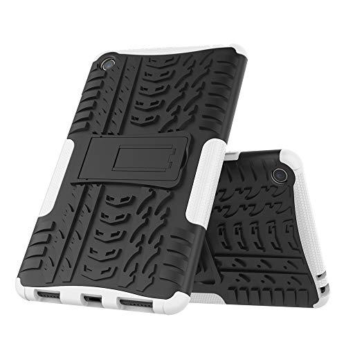 DAYNEW für Xiaomi Mi Pad 4 hülle,2 in 1 Armour Dual Layer Rüstung Defender TPU+PC schützender Zwei-Schichte Armor Design Tasche mit schlagfesten für Xiaomi Mi Pad 4-Weiß