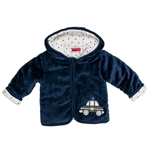 SALT AND PEPPER Baby-Jungen Jacke NB Jacket Fun Time Plüsch, Blau (Navy Blue 450), 74 (Kinder Jacke Baby)