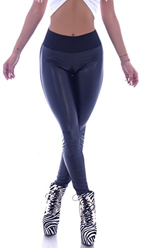 Damen Kunstleder Treggings Jeggings Leggings High Waist Hoschschnitt Schwarz Hose gr größe size XS 34 S 36 M 38 L 40 XL 42 leder lederhose high waist glanz sexy gogo taillen Hosen bauchweg schwarze