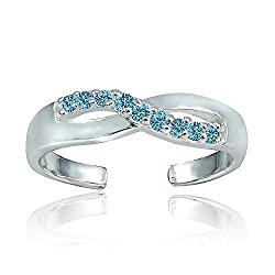 Sterling Silver Light Blue CZ Infinity Toe Ring