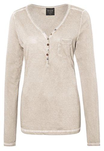 Urban Surface Damen Vintage Longsleeve mit Knöpfen   Leichtes Basic Langarmshirt aus hochwertigem Jersey Material