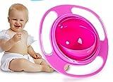 Reizbaby Kinderschale 360-Grad-Drehung Balance Schüssel Gyro Bowl Baby Schüssel keine Sprinkle keine Spill (rose)