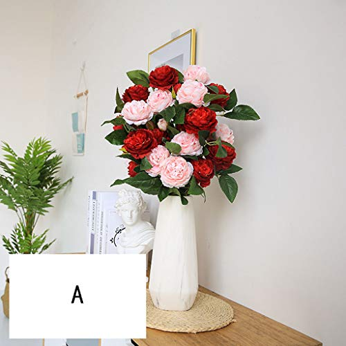 Ramo de Flores Artificiales Flores de Peonía Artificial Flor de Peonía Falsa Arreglos Florales Ramo...