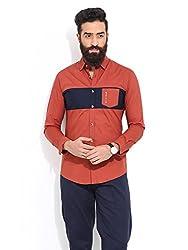 Mr Button The Superb Shine Cotton Shirts For Men, Long Sleeve, Semi-Spread, 100% Premium Mercerised Cotton Fabric, Latest Modern Fashion, Branded Stylish (Brandy Brown)