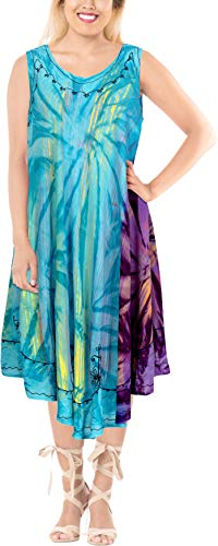 LA LEELA Frauen binden Bademode lose Sonnekleid färben Blau_X503 DE Größe: 42 (L) - 50 (3XL) -