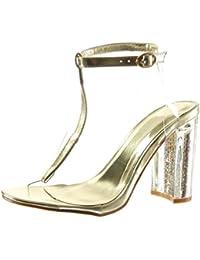Chaussures Jds® De Fortuning Pantoufle Dames T-bracelet Strass Paillettes Fête Sandale Plate zlpIkL0m
