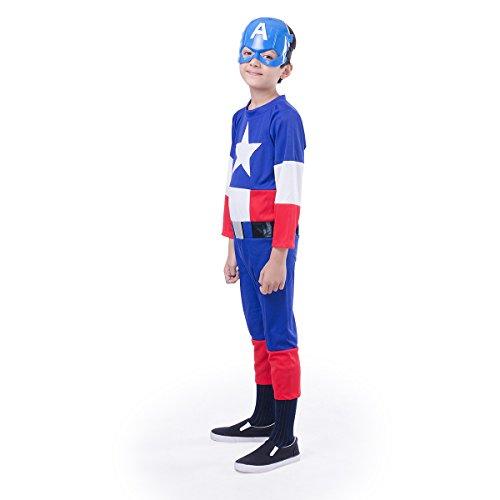 Fancydresswale Captain America Costume + Shield + Cape + Silicon Bracelet