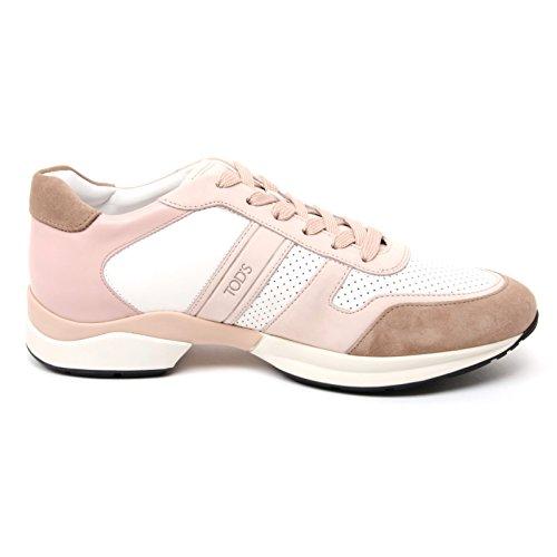 B4554 sneaker donna TOD'S DERBY scarpa sportiva rosa/beige shoe woman Rosa/Beige