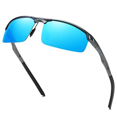 DUCO Herren Sport Stil Polarisierte Sonnenbrille Metallrahmen Brille 8550 (Gunmetal/Blau Verspiegelt) (Polizei Verspiegelten Sonnenbrillen)