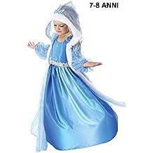 INCEPTION PRO INFINITE ® - TG140 Cappuccio - Costume di carnevale Frozen Elsa celeste - 7 - 8 Anni