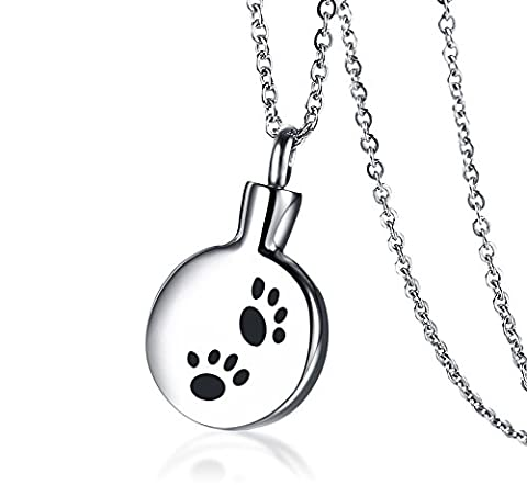 Vnox Patte en acier inoxydable gravé rond commémoratif souvenir Urne cendres pendentif collier pour hommes femmes Animal