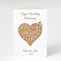 Personalised Copper Wedding Anniversary Card - 7 Years - Vintage Heart