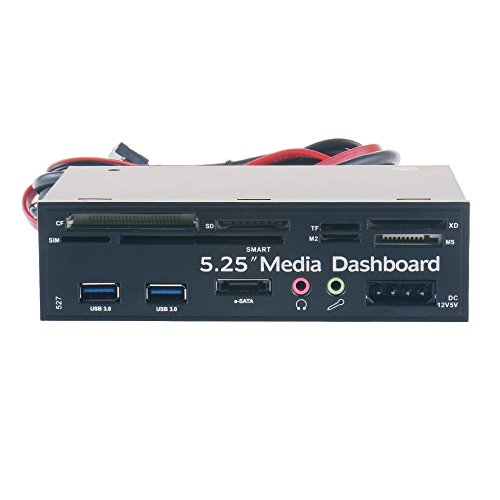 5.25 Zoll Multifunktions PC Frontplatte mit E-SATA Anschluss, USB 3.0 / USB 2.0 Hub, Mikrofon / Kopfhörer Audio Anschlüssen und Integrierter Kartenleser (CF / TF / M2 / SD / MS / XD / SIM / SMART) (Dual-cf-card-reader)