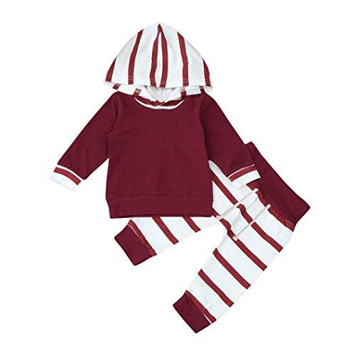 Koly 2pcs Set di neonati infantili del neonato Abiti con cappuccio a righe + Top Pantaloni (80CM, Red)