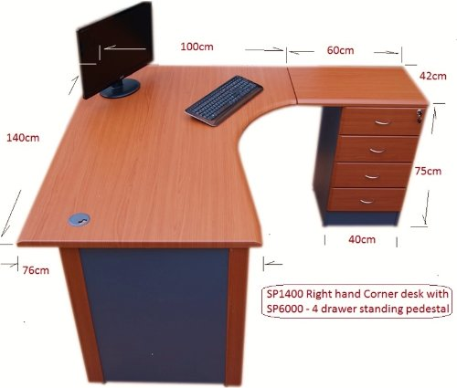 14 m Office Corner desk Right hand with 4 drawer pedestal