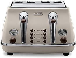 De'Longhi Vintage Icona CTOV4003BG 4-Slice Toaster - Cream