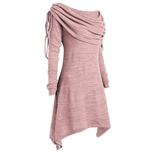 BHYDRY Herbstmode Damen Pullover Longpullover Kragen Tunika Falten Shirt Damen Loose Asymmetrisch Sweatshirt Long Top Oversize Pullover Oberteile Langarmshirt Große Größen -