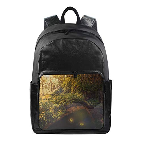 Student Backpacks College School Book Bag Travel Hiking Camping Daypack for Boy for Girl (Green Tree Under The Cat's Eye)