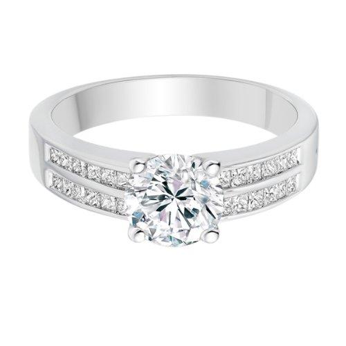 Diamond Manufacturers, Damen Verlobungsring mit 0.73 Karat G/VS1 feinem und zertifiziertem Runddiamant in Platin - 4