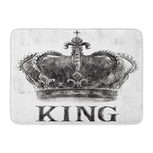 arthur thomas Fußmatten Bad Teppiche Outdoor/Indoor Fußmatte Rock King Crown Tee Grafik Vintage Musik Retro Slogan Varsity Badezimmer Dekor Teppich 23,6 x 15,7 Zoll; -