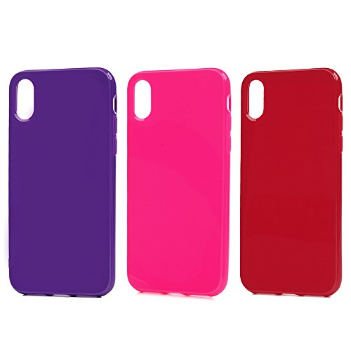 3 x iPhone X Handyhülle, KASOS Hülle : für iPhone X, TPU Case Etui Schale Schutzhülle Protective Schützende Stoßdämpfung Cover, Solid Color in Mintgrün + Cyan + Gelb Rose Rot + Rot + Lila