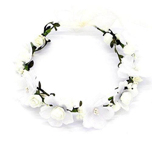 Oblique-Unique® Blumen Haarband Stirnband Blumenkranz Haarschmuck Kopfschmuck Bohemia Style Mädchen Damen - Farbe wählbar - (Weiß)
