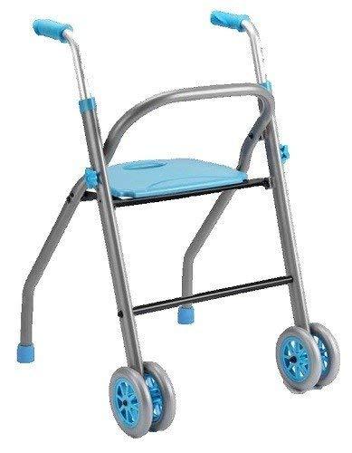 Andador para ancianos aluminio ligero | Plegable | Taca taca andador | Con dos ruedas | Ligero, cojín ergonómico | Con asiento | Color celeste | Para adultos | Futura de Apex