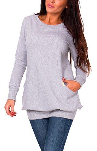 SMITHROAD Damen Sweatshirt Langarm Sweater mit Taschen Rundhalsausschnitt Herbst Winter Einfarbig XS-L Grau