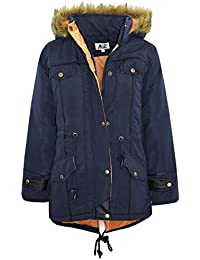 A2Z4Kids Abrigo para niños y niñas, parka de piel sintética larga con capucha, de 3 a 13años