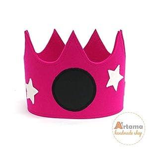 Filz Geburtstagskrone für Kinder - Fuchsie mit weißen Sternen und Tafel Stoff - Handmade - Artama