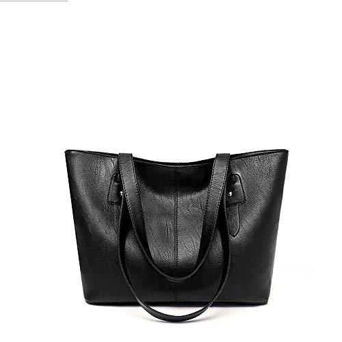 VADFLOD Damen Handtasche aus weichem Leder in Schwarz -