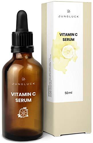 Junglück veganes Vitamin C Serum in Braunglas - Anti-Aging durch Feuchtigkeitspflege für Gesicht &...