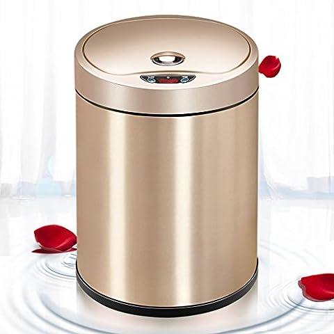 SHOME Sensor Mülleimer / Induktion Mülleimer - Touchless Automatik Touchless Edelstahl Mülleimer mit Deckel und Innenbehälter, 6-Liter, Gold