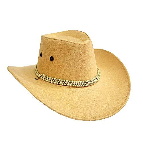 Ogquaton 1 STÜCKE Cowboy Hat Kostüm Zubehör Breiter Krempe Western Cowgirl Hüte Wild West Beige (Kostüm Cowgirl Halloween Zubehör)