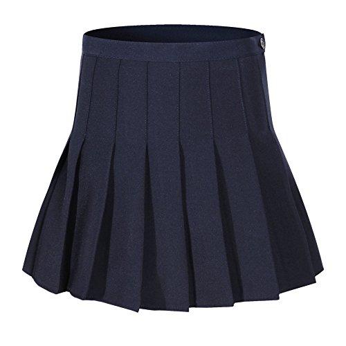 Beautifulfashionlife Damen Hohe Taille Plissee Solid Mini Shorts Skate Skorts, Damen, Dark Blue Skorts, Waist:24.5 Inch