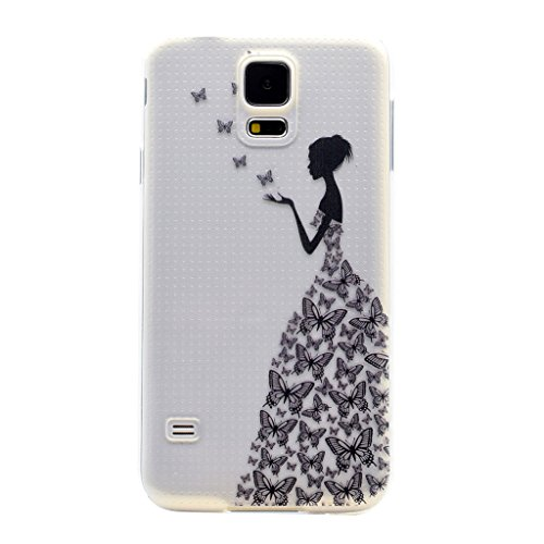 Skitic Elegante e Leggera Trasparente Clear Custodia per Samsung Galaxy S5 Mini, Patterns Series Crystal Morbido Flessibile TPU Silicone Gel Protettivo Case Cover per Samsung Galaxy S5 Mini - Ragazza Farfalla