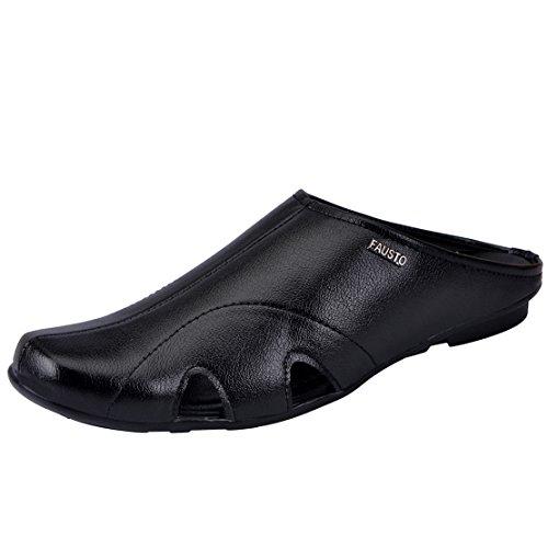 FAUSTO Men's Black Synthetic Sandal (8 Uk)