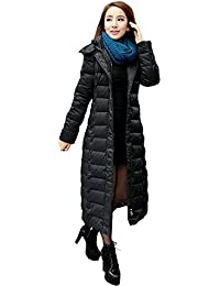 Queenshiny thick Long Women's Down Coat hooded Goose down filling winter uk size from 8--16 long to knee