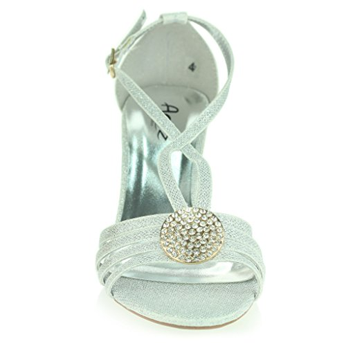 Femmes Dames Broche en Cristal à Lanières Diamante Svelte Talon Moyen Soir Fête Mariage Bal de Promo Des sandales Chaussures Taille Argent
