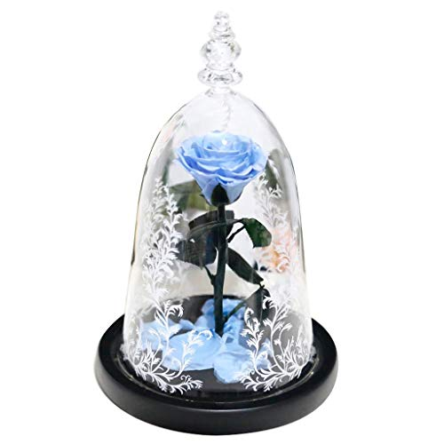 JDGJSF 0,65 Kg Forever Rose - Handgemachte Ewige Blume Mit LED-Lichtern - 18 × 18 × 28 cm - Rot/Hellblau/Lila/Dunkelblau -