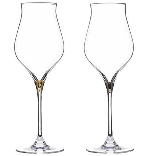Stem Ring rot und weiß Kombination Wein Glas Paar [Geschenk Box Input] Gold u0026Platin (Box Wein Kostüm)