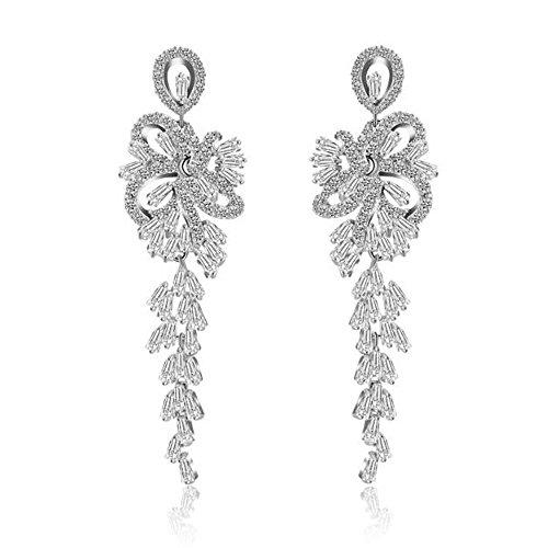 Gracewedding Zirconia Mosaic Wedding Earrings with Teardrops for Brides or Bridesmaids