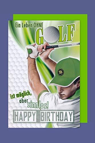 Golf Geburtstag Karte Grußkarte Spieler Abschlag 16x11cm