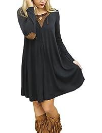 Vestidos De Fiesta Mujer Cortos Elegante Manga Larga Splice Camisetas Una Línea Con Volantes Negras V