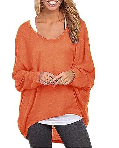 ZANZEA Sexy Women Loose Solid Irregular Long Sleeve Baggy Jumper Casual Tops Blouse T-Shirt Orange M